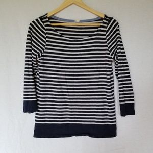 J. CREW NAVY/WHITE 3/4 SLEEVE TEE TOP SIZE SMALL